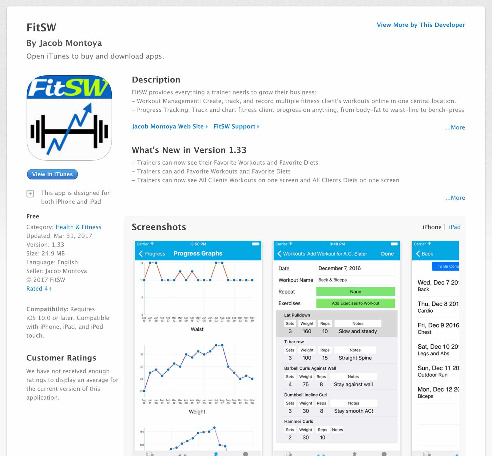 FitSW published app by course graduate