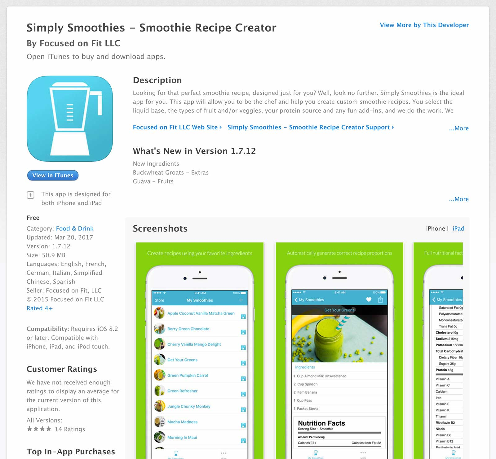 Simply Smoothies published app by course graduate