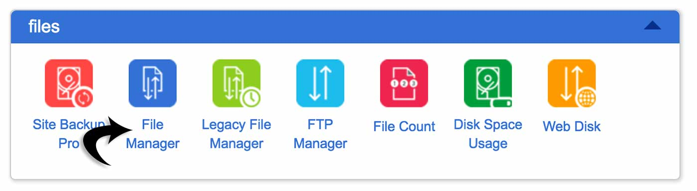 Bluehost cPanel file manager icon