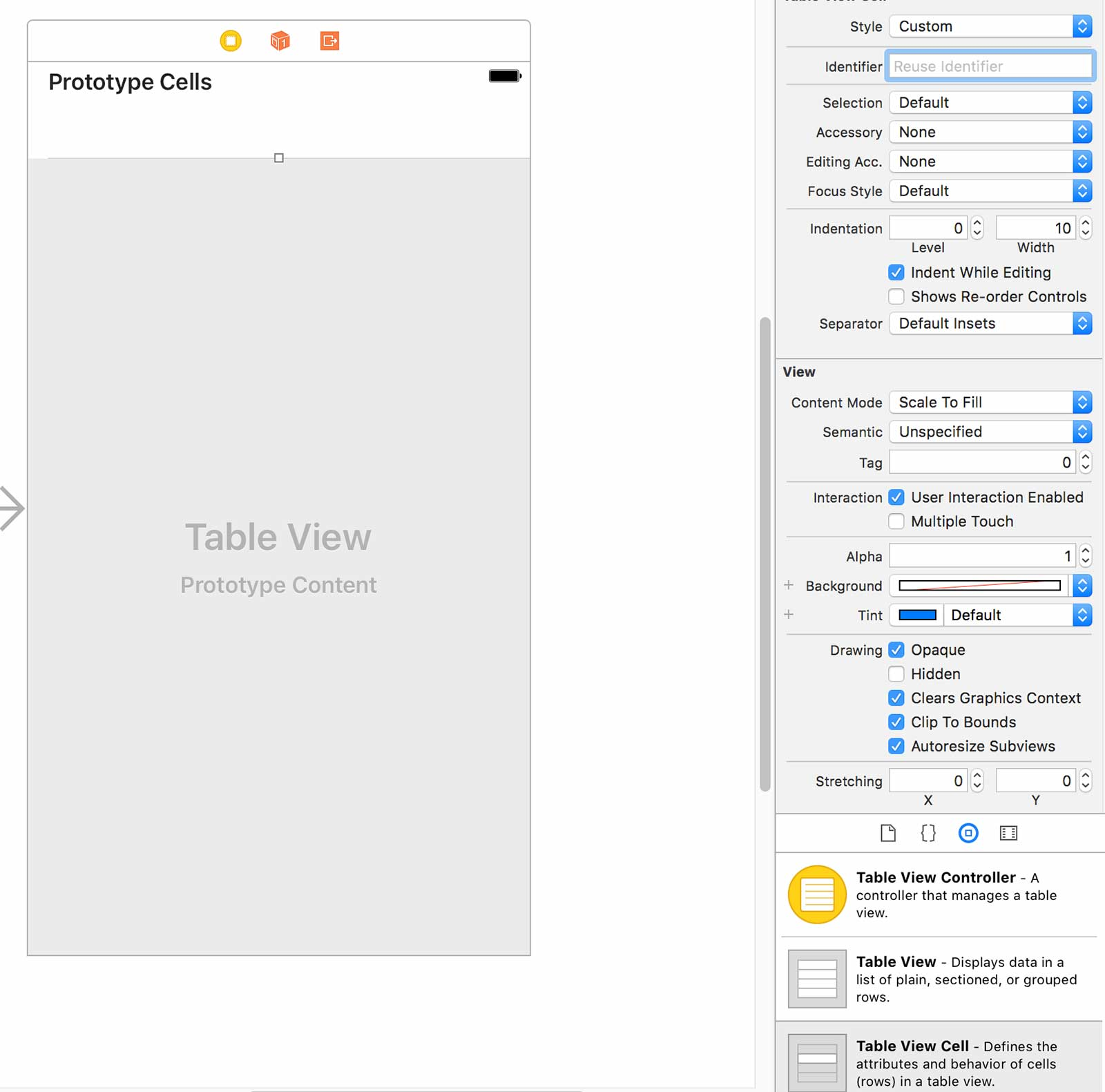 Adding a table view and table view cell to the view