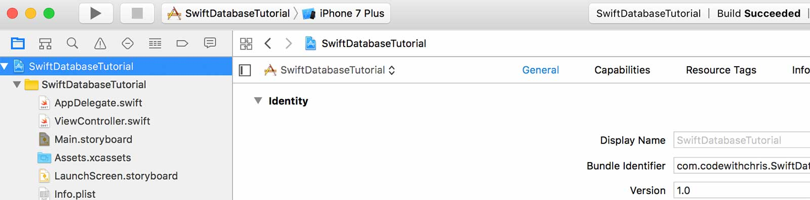 Project settings in Xcode