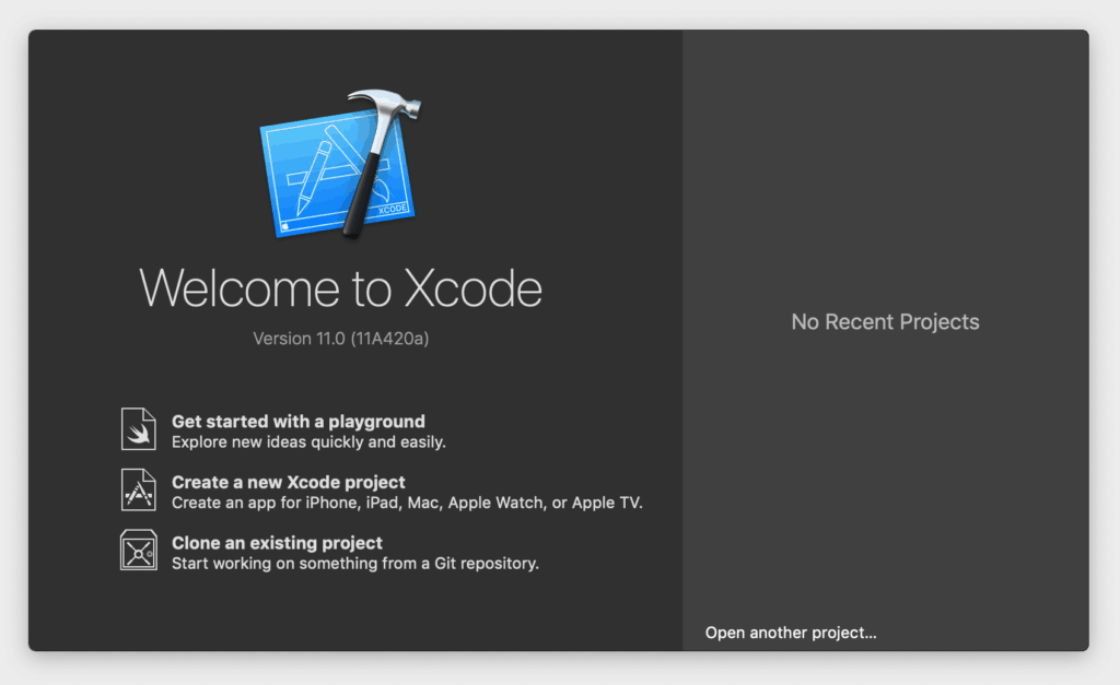 Xcode 11 welcome screen