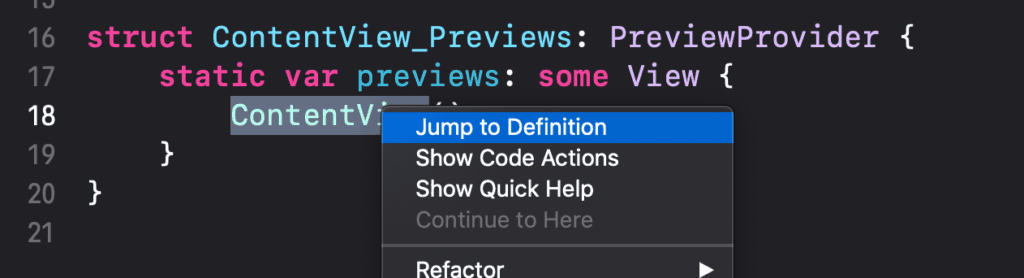 Right click a method or class to jump to its definition