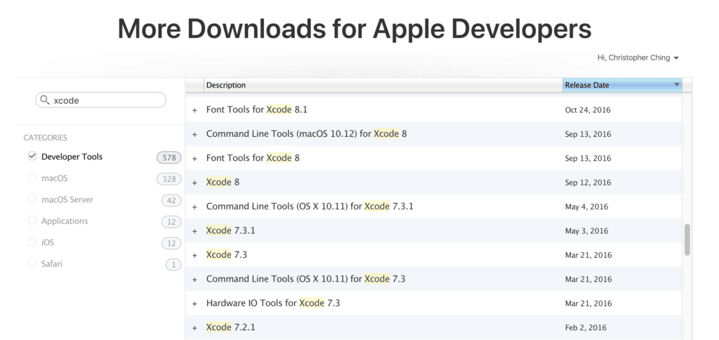 Download older versions of Xcode